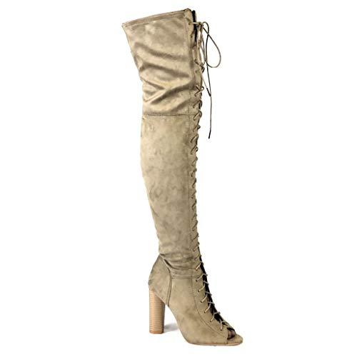 Angkorly - Damen Schuhe Oberschenkel-Boot Stiefel - Flexible - Sexy - High Heels - Spitze - Schnürung Blockabsatz high Heel 10.5 cm - Khaki FR140 T 38