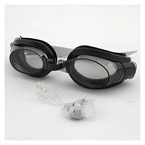 siqiwl Gafas de Natación Niños Adolescentes Ajustables Gafas de natación EyeGasas Deportes Traje de baño con Tapones para Orejas y Clip de Nariz (Color : Black)