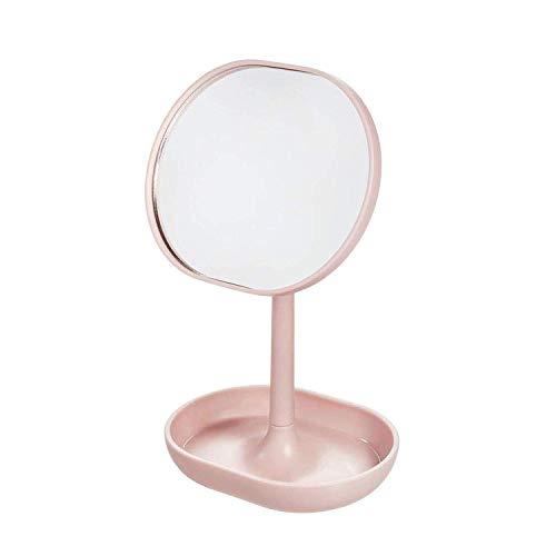 iDesign Standspiegel, kleiner und runder Schminkspiegel aus Kunststoff, drehbarer Badspiegel mit Ablage für Make-up und Schmuck, rosa