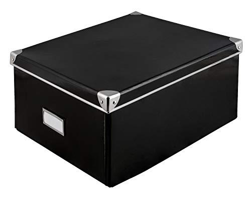 Idena 10520 - Aufbewahrungsbox aus festem Karton, Deckel mit Metall verstärkt, inklusive Beschriftungsfeld, ca. 36 x 28 x 17 cm, schwarz