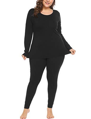 IN'VOLAND Women's Plus Size Thermal Long Johns Sets Fleece Lined 2 Pcs Underwear Top & Bottom Pajama Set Black