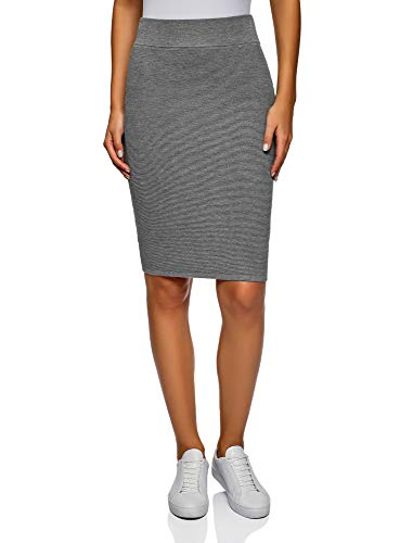 oodji Collection Damen Bleistiftrock Gerippt, Grau, DE 40 / EU 42 / L