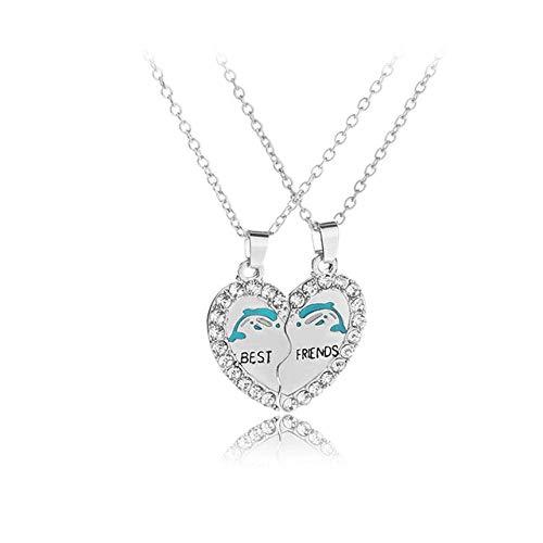 ZHANGJ Bester Freund Halskette 2 Teil Gebrochenes Herz Anhänger Tier Panda Pinguin Kristall Anhänger Halskette Freundschaft Schmuck, Delphin