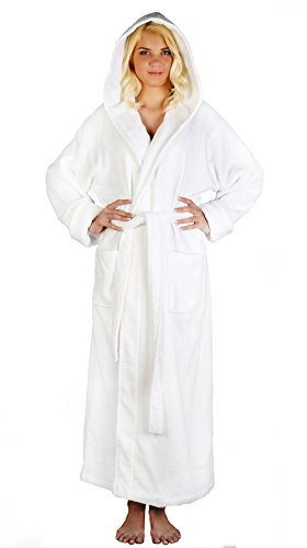 Arus Women's Full Length Long Hooded Soft Twist Turkish Cotton Bathrobe White X-Large