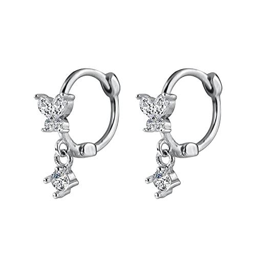 XCWXM Clear CZ Butterfly Hoop Earrings declaración Femenina Boda Compromiso joyería para Las Mujeres 925 Plata esterlina Navidad/Regalos de San Valentín para Las niñas
