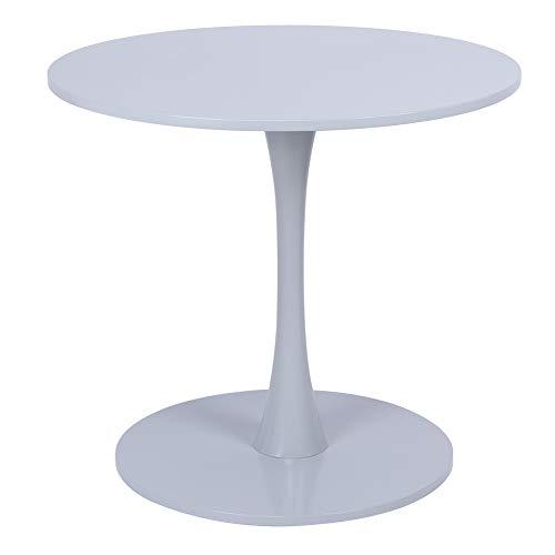 Mesa de comedor redonda, moderna mesa de café, mesa auxiliar, mesa auxiliar para salón, de metal y MDF, 80 x 71 cm, para salón, cocina, terraza, patio, (gris)
