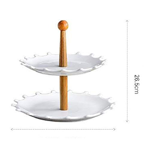 Zonnebloem Dessertbord Creatieve Drie-laags Fruitschaal Double-layer Fruitschaal Buffet Display Stand (Color : White, Size : 26.5cm)