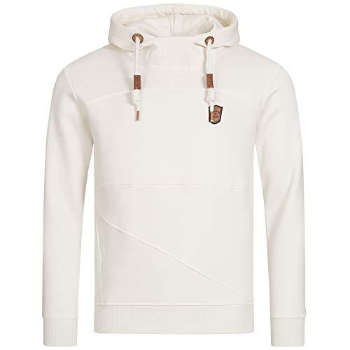 Indicode Herren Boldero Sweatshirt mit Kapuze | Warmer Hoodie sportlicher Kapuzenpullover modernes Kapuzensweatshirt Herrenpullover Hooded Sweater Pullover für Männer Offwhite XL