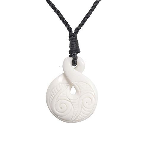 81stgeneration Hueso Tallado A Mano Maorí Pikorua Giro Hélice Collar Colgante de Hombre Mujer