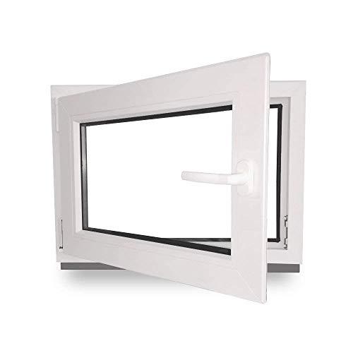Kellerfenster - Kunststoff - Fenster - innen weiß/außen weiß - BxH: 80 x 60 cm - 800 x 600 mm - DIN Links - 2 fach Verglasung - 60 mm Profil