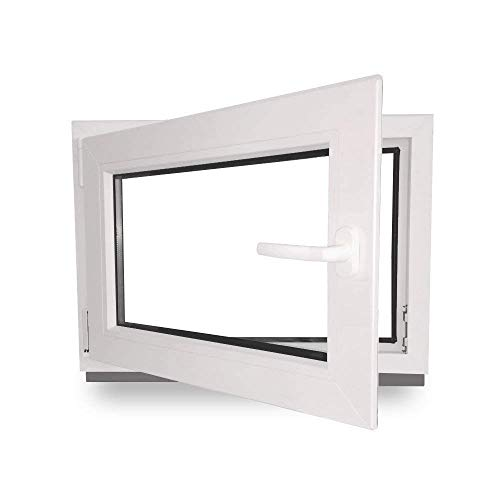 Kellerfenster - Kunststoff - Fenster - weiß - BxH: 80 x 40 cm - 800 x 400 mm - DIN Links - 3 fach Verglasung - 60 mm Profil