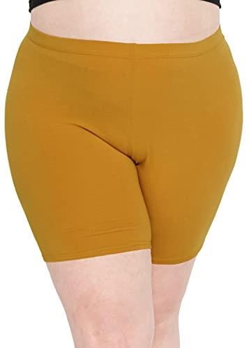 Stretch is Comfort Women's Cotton Plus Size Bike Shorts Mustard Yellow 2XL