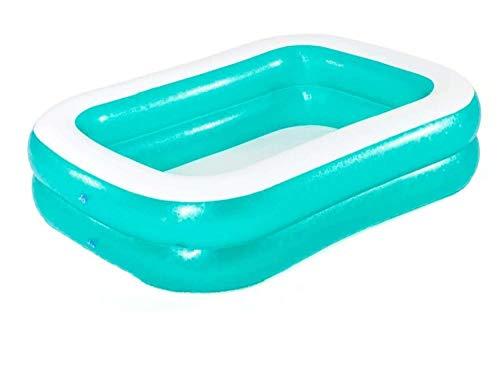 OKOUNOKO Piscine Maison Baignoire pour Enfants Adulte Gonflable été Extérieur Piscine Rectangulaire Piscine, Bleu ciel-201x150x51cm