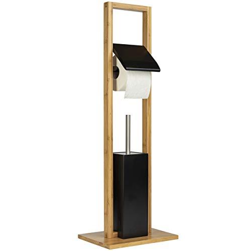 ONVAYA® WC-Garnitur aus Bambus | Toilettenpapierhalter stehend | ohne Bohren | WC-Bürstenhalter & Klorollenhalter Holz (Schwarz)