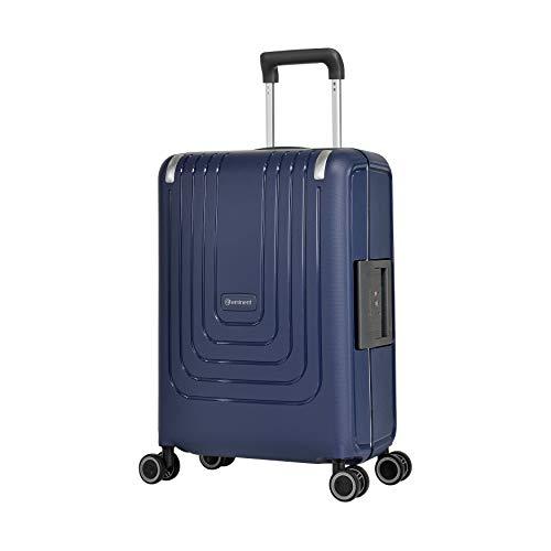 Eminent Koffer Vertica 55 cm 44 L Spinner S Handgepäck Starke Hartschale mit Rahmen 4 leise Doppelrollen Blau