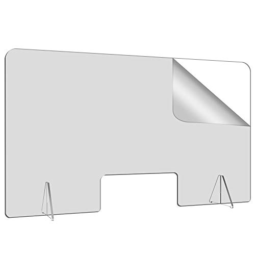 44'W-26'H Plexiglass Barrier Shield for Desk and Counter, Acrylic Divider Protection Portable Plastic Barrier Shield Reception Desk Cashier Checkout Counter