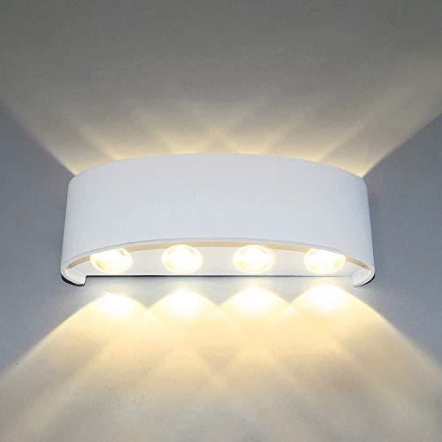 Louvra 8W LED Wandleuchte Innen Modern Außenleuchte Wandlampe Aussen IP54 Wasserdicht aus Aluminium Up Down für Wohnzimmer Schlafzimmer Flur Hof Garten Schwarz/Weiß (Kaltweiß/Warmweiß)