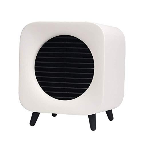 AMNFJ 700W Mini Cerámico Ventilador Calentador, 4 Hora Minutero, Propina Terminado La Seguridad Proteccion,White