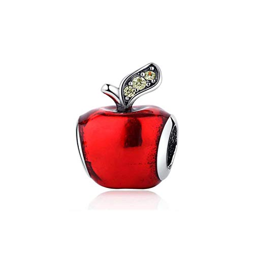 JINGGEGE Authentique Sterling Silver 925 Charm Original Fit Bracelet DIY Charmes Perles De Fairy Tale Dessin animé Souris Bijoux Noël (Color : Apple)
