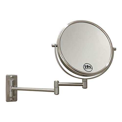 Lansi 10x/1x Wall Mounted Magnifying Mirror, Double-Side Mirrors for Wall,Satin -