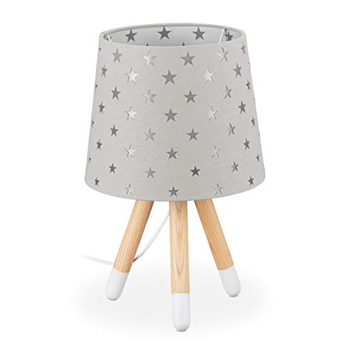 Relaxdays 10035354_111 - Lámpara de mesa infantil (casquillo E14, 39 x 25 cm), diseño de estrellas, color gris