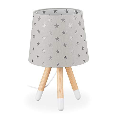 Relaxdays Nachttischlampe Kinder, Tischlampe für Jungen & Mädchen, E14 Fassung, Kinderlampe Sterne, HxD 39 x 25 cm, grau, 10035354_111