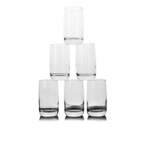 Einfachheit Bierglas Hohe Cocktail Glas Runde Teetasse Dicke Boden Glassaft Glas Wasser Glas 5.2x11.5cm MUMUJIN (Color : B, Size : 6pc)