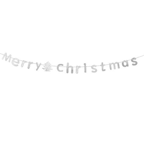 BinaryABC Merry Christmas Bunting Garland Banner,Christmas Decor Decorations(Silver)