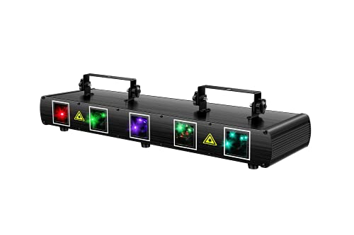 Laser Lights, U`King 5 Beam Effect Sound Activated DJ Party Lights RGBYC LED Music Lights by DMX Control for Disco Dancing Birthday Bar Stage Lighting (2021 New Laser Light)