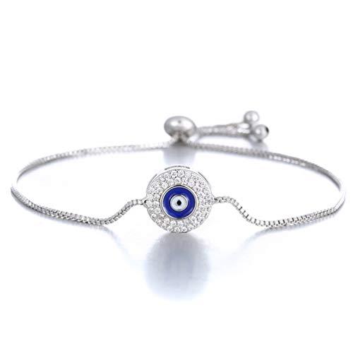 SAKAIPA Adjustable Cubic Zirconia Cute Slider Tennis Gold Plated Butterfly Bracelet Women Jewelry (Silver plated evil eye)