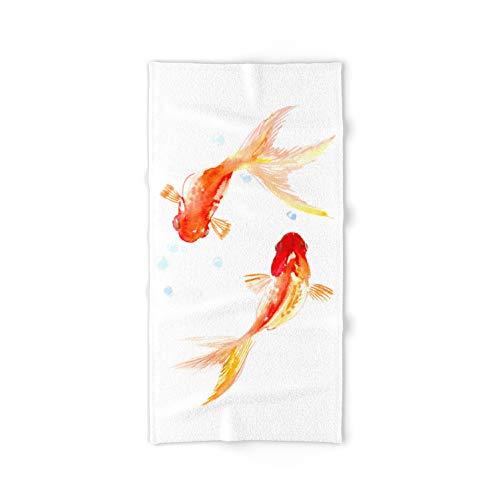 Goldfish, Two Koi Fish, Feng Shui, Yoga Asian Meditation Design by Surenart on Bath Towel