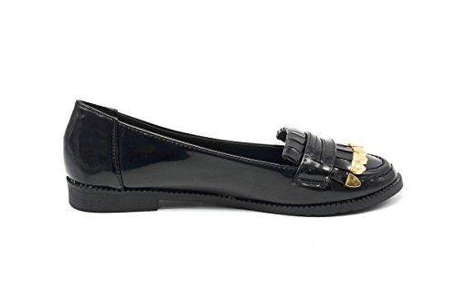 SHF09 Mocassins nagellak met goudkleurige franjes vooraan – mode dames