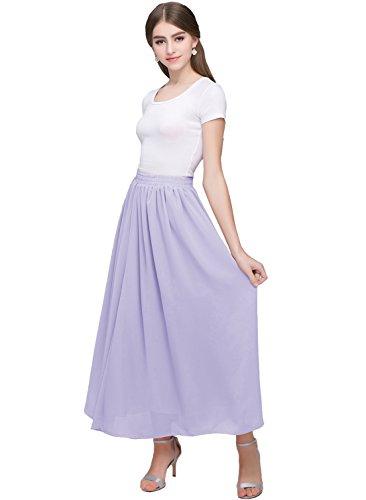 Kileyi Women's Long A Line High Elastic Waist Swing Chiffon Pleated Midi Skirt Lavender XXL