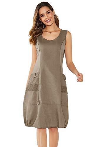 Yidarton Damen Kleider Strand Elegant Casual A-Linie Kleid Ärmellos Sommerkleider (XL, Kaffee)