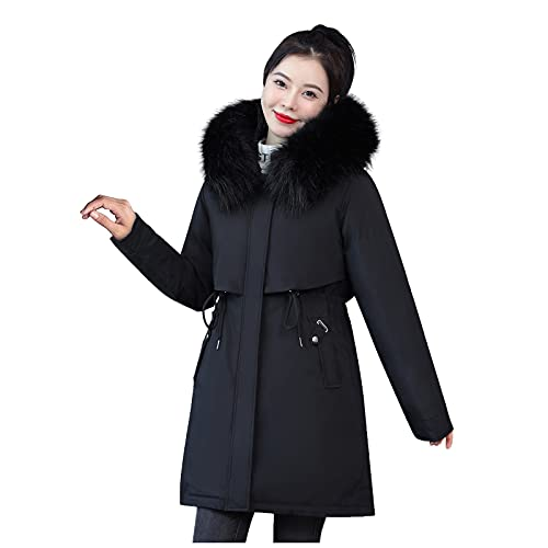 GIJK Womens Hooded Warm Winter Coats with Faux Fur Lined Outerwear Jacket Cotton-Padded Zipper Pullover Sweater Tunic Blouses Black