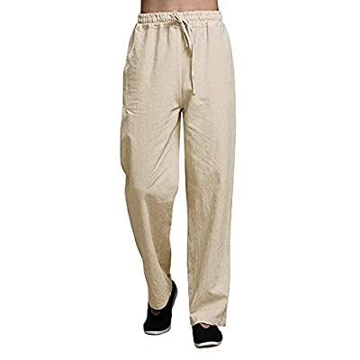 Amazon - Save 70%: APRAW Mens Linen Cotton Casual Pants Stretchy Waist Beach Trousers with Draw…