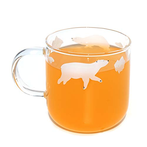Vihimi Taza de café con leche mediana para jugo, vidrio transparente, resistente al calor, borosilicato, termo para bebidas calientes y frías, cerveza de té helado (12 oz/350 ml)