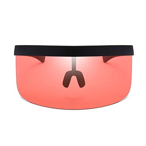 ASVP Shop Futuristische Sonnenbrille, Übergröße, flache Oberseite, verspiegelte Mono-Gläser, Rot