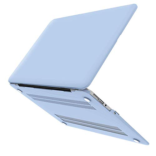MacBook Air 13 Zoll Hülle, iCasso Rubber Coated Soft Touch Hard Case mit Tastaturabdeckung MacBook Air 13 Zoll (Modell: A1369/A1466), Serenity Blue