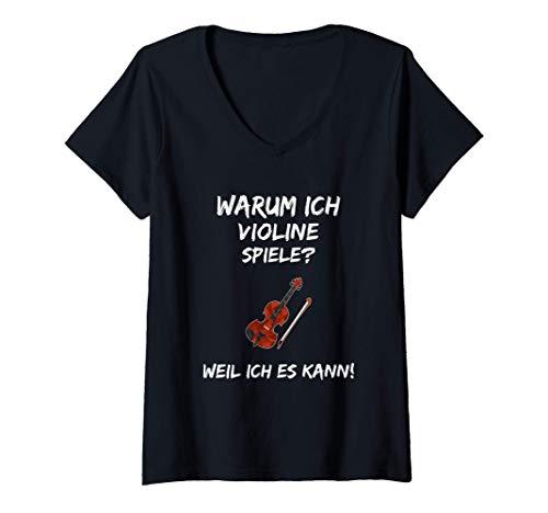 Damen Geige Lernen Spruch Lustig Violine Fidel Bratsche Instrument T-Shirt mit V-Ausschnitt