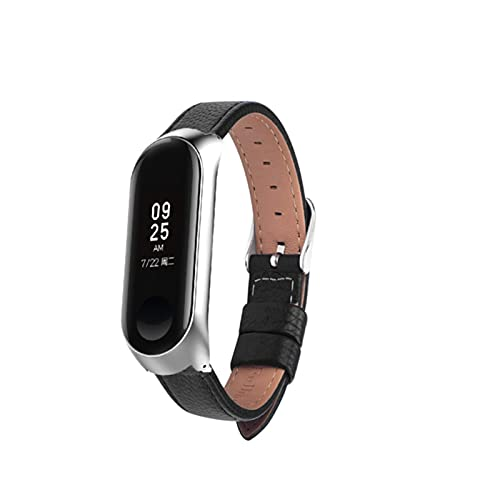 Correa de reloj para Xiaomi Mi Band 6 Correa de reloj Correa de muñeca de cuero Para xiaomi mi band 5 4 3 2 accesorios pulsera-Negro, para miband2
