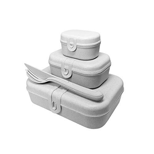 Koziol Pascal Ready Lunchbox-Set + BESTECK-Set Organic Grey, 3168870