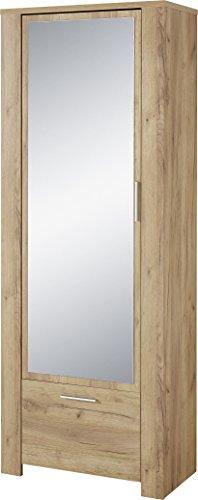 Preisvergleich Produktbild Germania Garderobenschrank 3959-243 GW-CASTERA,  mit Spiegeltür und Schubkasten,  in Navarra-Eiche-Nachbildung,  74 x 198 x 41 cm (BxHxT)