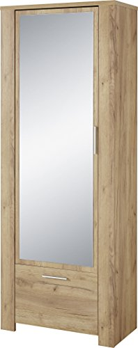 Germania Garderobenschrank 3959-243 GW-CASTERA, mit Spiegeltür und Schubkasten, in Navarra-Eiche-Nachbildung, 74 x 198 x 41 cm (BxHxT)