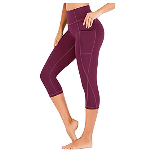 Huyghdfb Yoga Pants with Pockets for Women Sports Leggings with Pockets High Waisted Gym Leggings Women Running Trousers (Red, M)