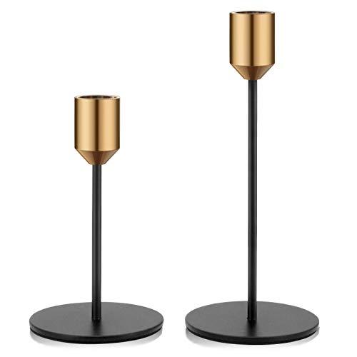 Kerzenständer 2er Set Kerzenhalter Metall dekorativ für Esstische Wohnzimmer Schlafzimmer Bad Hochzeit, Gold...