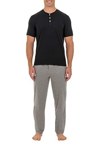 Fruit of the Loom Men's 2-Piece Jersey Knit Pajama Set, Black/Grey Heather, 3XL