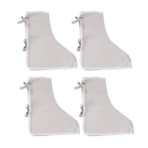 sourcing map 2Paar Baumwolle Segeltuch Gamaschen Schuhschutz Weiß für Schweißprozess Schutz