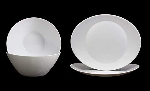 Fitting Gifts Bistro Collection Service Prometeo de Forme Ovale, Blanc Brillant, avec 2X Saladiers et 2X Plats de Service (4 Pièces)