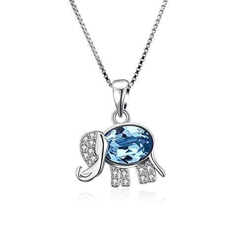 BENHAI Diseño De Elefante Mujer/Niñas Cristales Colgante Collar, 925 Plateado Swarovski Element Colgante Joyería Regalo para el día de la Madre para Mujer De Amor Regalos para Mamá Ajustable 40+5cm
